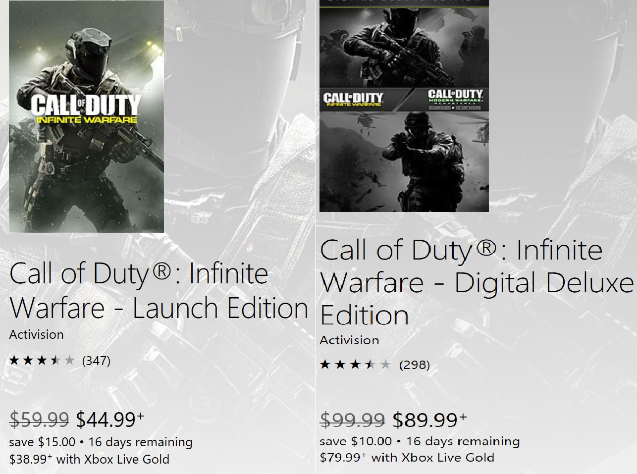 Deal Alert: Call of Duty Infinite Warfare Discounted on Xbox Store ...