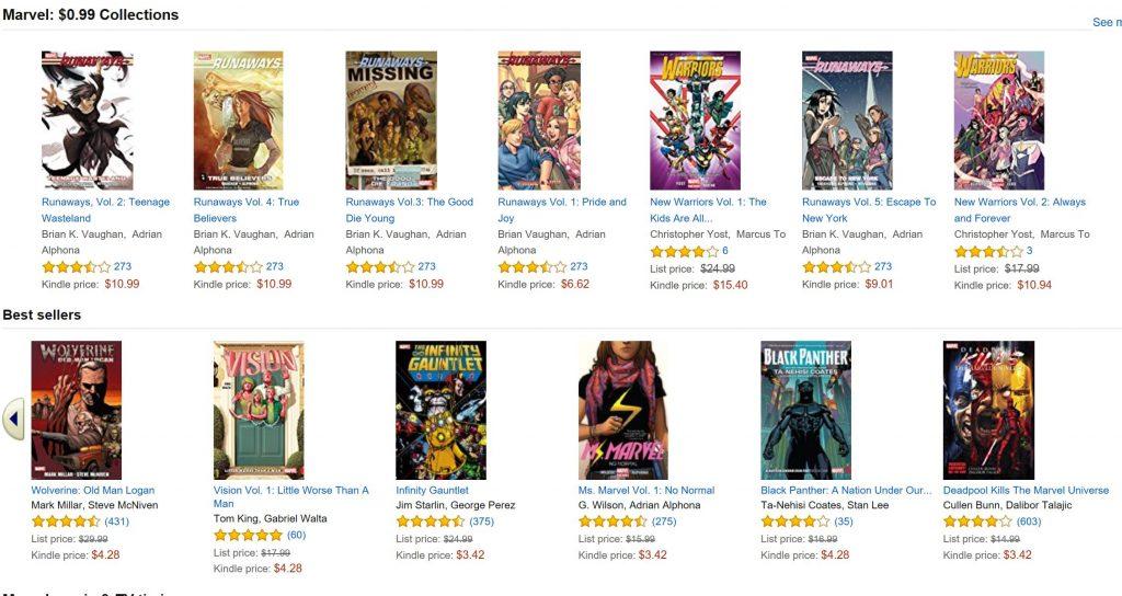 marvel comics on amazon